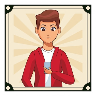 Young man cartoon