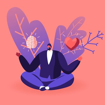 Young man in casual closing sitting in meditative lotus posture with brain and heart in his hands choosing between feelings and mind. cartoon illustration