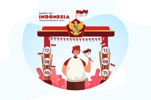 A young man celebrate of indonesian independence day