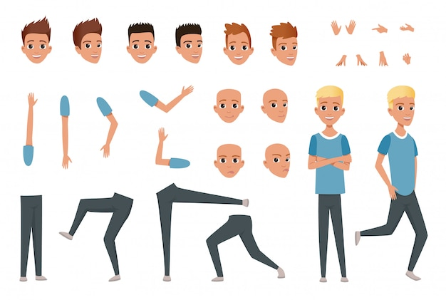 신체 부위 다리, 팔, 손 제스처와 젊은 남자 캐릭터 생성자. 화가 나고 불만족스럽고 놀랍고 차분한 얼굴 표현.