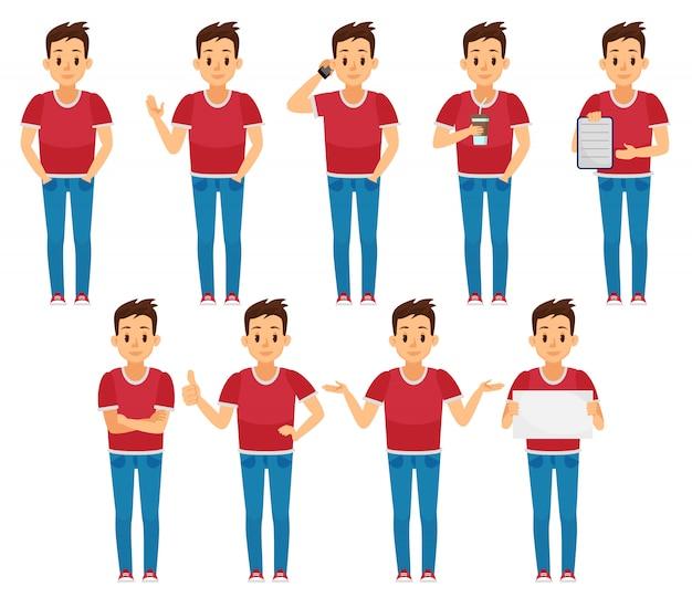 分離された様々なポーズで若い男文字セット。男性のベクトル図。