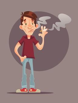 Young man character smoking cigarette