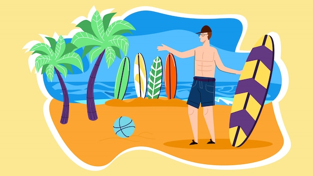 Young man character stand on beach with surf board