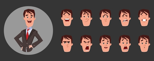 Young man character with various facial emotions and lip sync. character for custom animation.