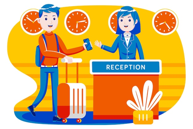 Young man check in hotel room at reception. Premium Vector