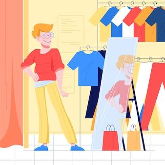 옷을 선택하는 젊은 남자. 가게에서 새 옷을 입는 남자. 삽화