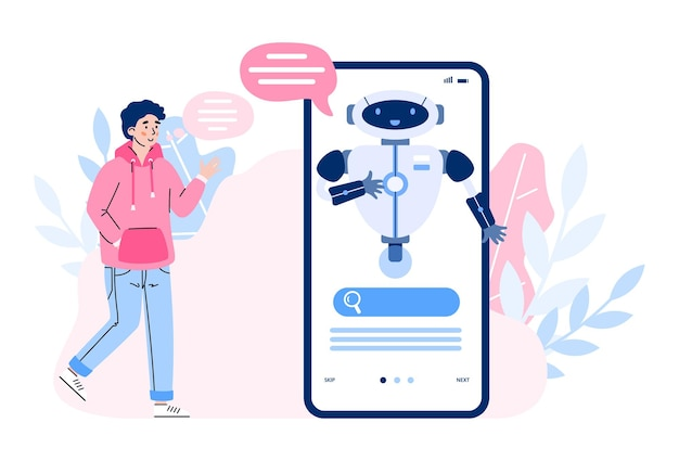 Young man communicate in chat with smart chatbot virtual assistant