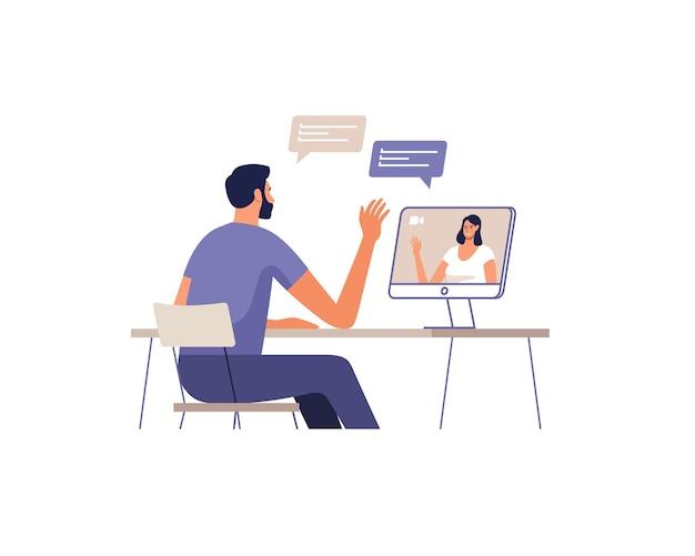젊은 남자는 컴퓨터를 사용하여 온라인으로 통신합니다. 장치 화면에 여자입니다. 온라인 회의, 데이트, 통화 및 비디오의 원격 통신 개념.