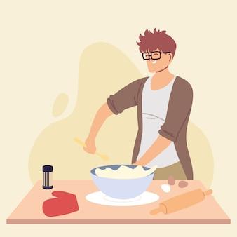 若い男がケーキイラストデザインの準備を調理します。