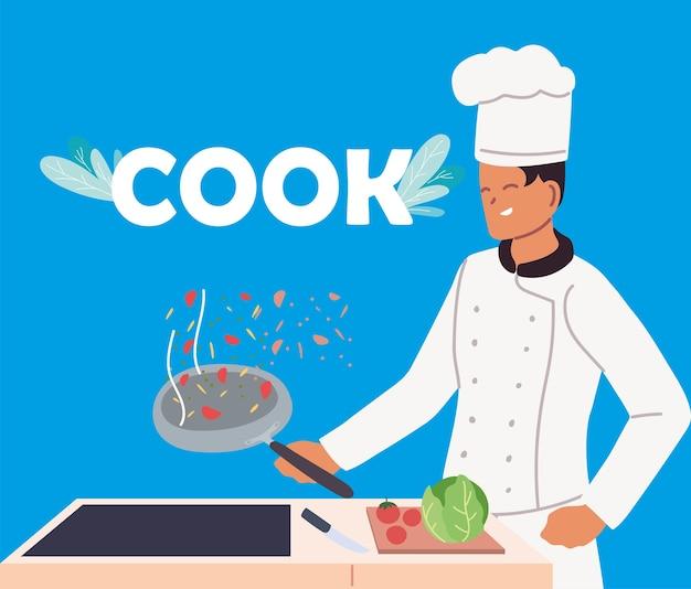 若い男がストーブと要素キッチンイラストデザインで調理します。