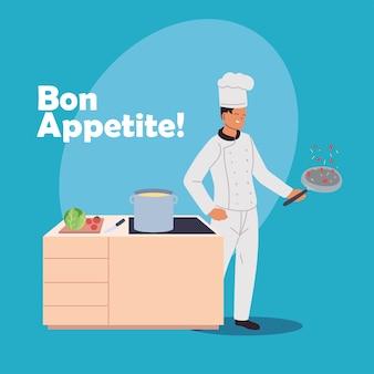 若い男がストーブと食材のイラストデザインで調理します。