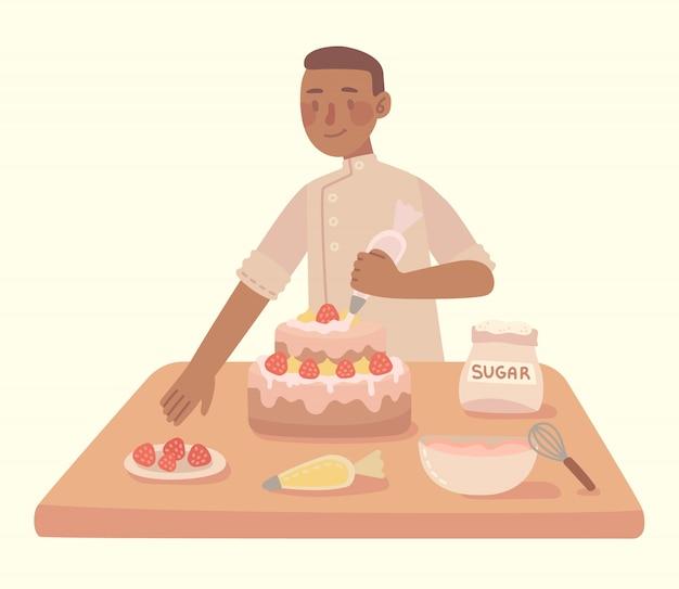 Молодой человек, приготовление пищи на кухне домашний торт с дома. современная иллюстрация в плоском стиле.