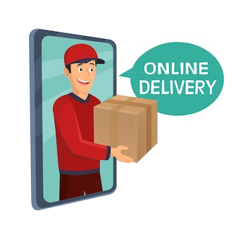 Young man courier delivery services of holding a large box