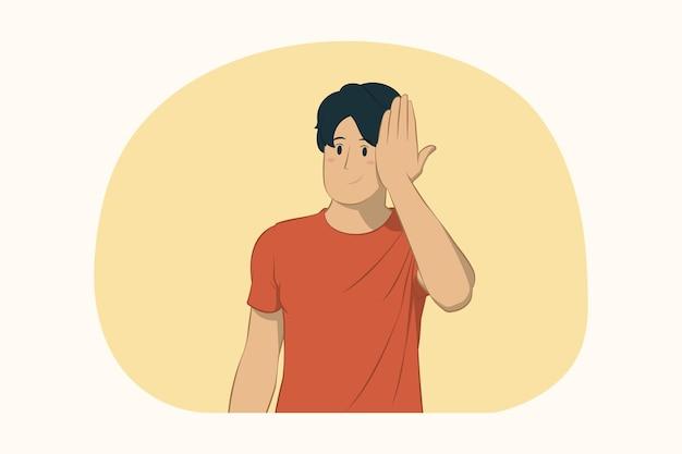 손 개념으로 얼굴을 덮고 젊은 남자
