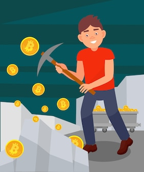 Young man digging coins from rock with pickaxe, man mining bitcoins, cryptocurrency mining technology  illustration in  style