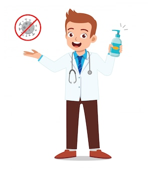 Young man doctor holding hand sanitizer warn about virus