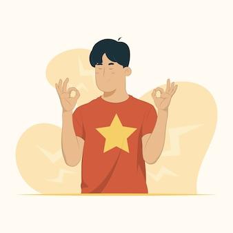 Молодой человек делает жест медитации пальцами расслабляет глаза закрытыми концепцией йоги