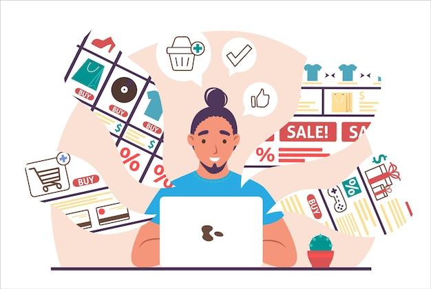 ラップトップコンピューター、フラットベクトルイラストを使用してオンラインショッピングをしている若い男。オンラインで購入する男性キャラクター。インターネットストア、eコマース。