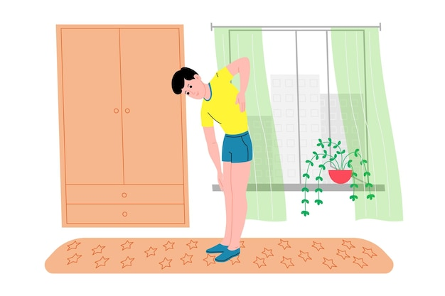 Молодой человек занимается спортом, физическими упражнениями, домашними тренировками и фитнесом дома во время карантина и ведет здоровый образ жизни. плоские векторные иллюстрации. люди, мужчины и женщины используют дом как спортзал.