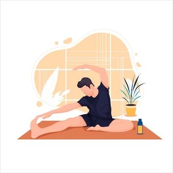 Молодой человек занимается йогой человек расслабляется в позе лотоса векторная иллюстрация плоский