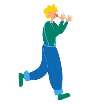 서커스 쇼나 엔터테인먼트를 위해 카니발 의상을 입은 청년. 곱슬 생강 가발과 빨간 코. 아이들을 위한 파티. 밝은 의류 벡터 일러스트 레이 션의 문자