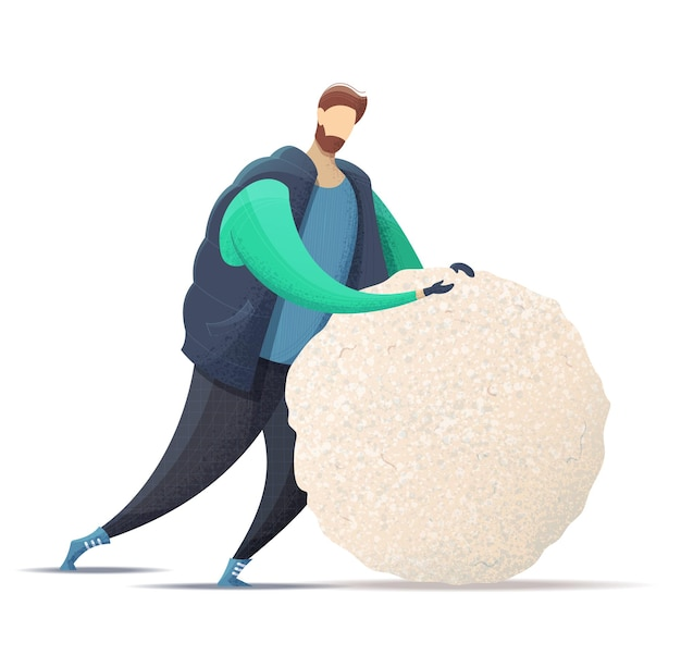 A young man dressed in outerwear makes a big snowball for a snowman