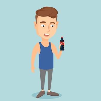 Young man drinking soda vector illustration.