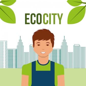 Young man eco city urban energy alternative