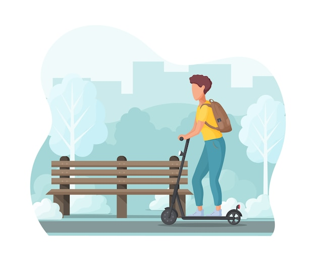 Young man on electric scooter in the park. ecology transport concept.  illustration.
