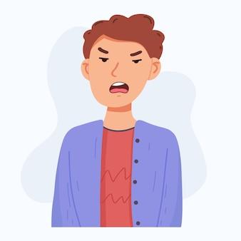 Лицо молодого человека, сердитое выражение лица, векторные иллюстрации шаржа, изолированные на сером фоне. красивый мальчик хмурится, чувствует себя расстроенным, расстроенным, угрюмым, расстроенным. сердитое выражение лица