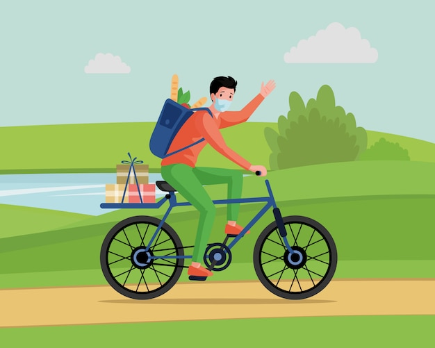 Young man in face mask riding on bicycle, deliver food and goods from supermarket   cartoon concept.