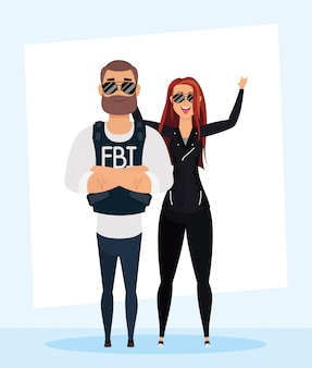 Young man fbi agent with rude woman characters
