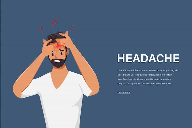 Молодой человек, чувствуя головную боль характера. боль в голове. медицинский центр здравоохранения.