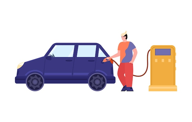 Young man filling up fuel of car at petrol station a vector illustration