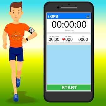Young man flat design running with cardio devices