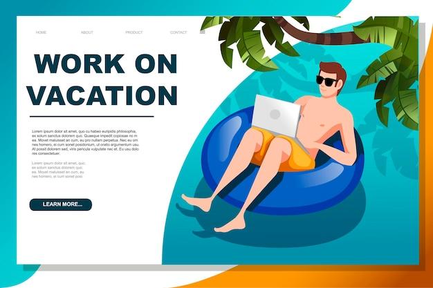 Молодой человек, плавающий на синем надувном круге с векторной иллюстрацией ноутбука, работает в отпуске