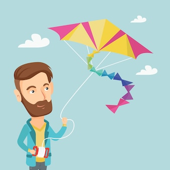 Young man flying kite vector illustration.