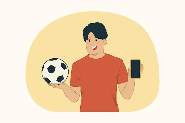 Young man football fan hold mobile phone with blank empty screen