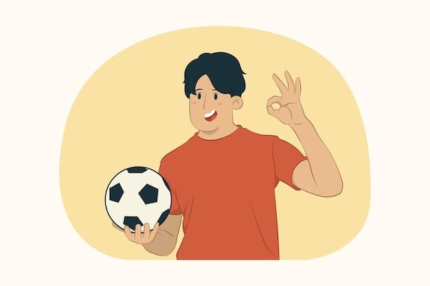 Молодой человек футбольный фанат показывает знак ок