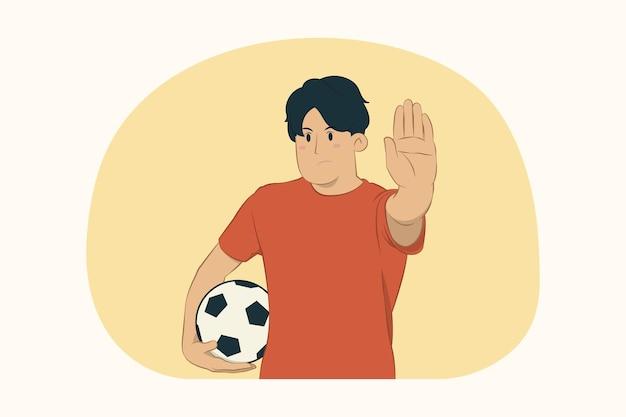 Молодой человек футбольный фанат показывает жест стоп с ладонью