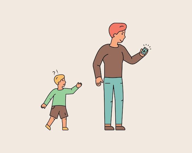 若い男は電話を見ながら小さな男の子を忘れました。息子が父親に追いつくことを試みている。子供の喪失。気を取られた男。カラフルなラインキャラクターの人々。フラットなデザインスタイルの最小限のベクトル図。