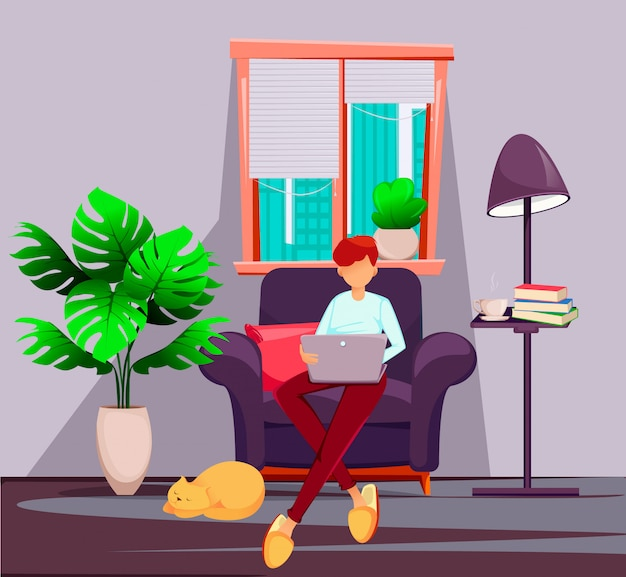 Young man freelancer works at home