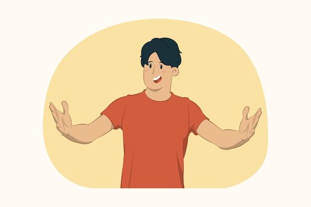 Молодой человек жестикулирует, демонстрируя размер с концепцией горизонтального рабочего пространства