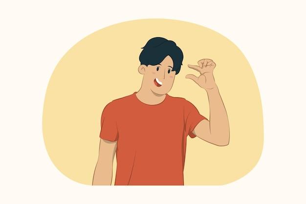 Молодой человек жестикулирует, демонстрируя размер с концепцией рабочего пространства
