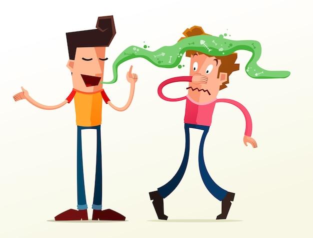 Молодой человек раздражается из-за неприятного запаха своего друга