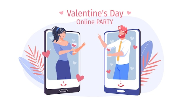 若い男はバレンタインデーのために女性にオンラインの愛のプレゼントを与えます