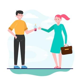 Молодой человек дает пузырьковый чай девушке
