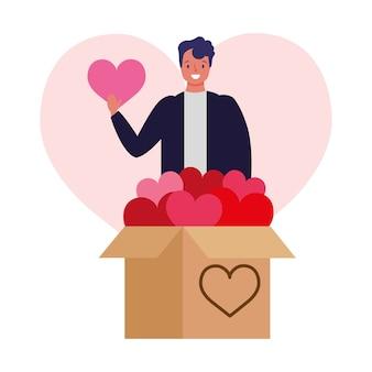 Молодой человек дает коробку сердец