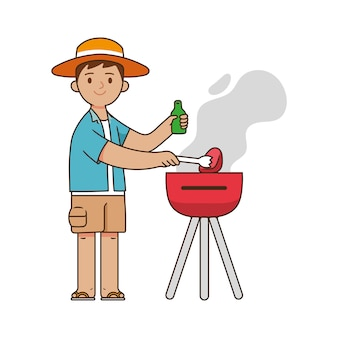 Young man grills meat with a grill while holding beer in the summer