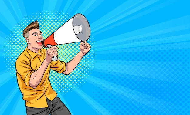 Young man handsome shouting using megaphone pop art comic style